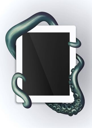electronic device: Tentacles wrapped around a generic electronic device Stock Photo