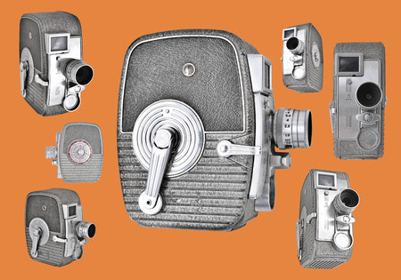 angles: Vintage 8mm Cameras at different angles in a bright retro layout