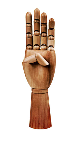 gesticulation: Wooden Hand in a unique Pose for use in designs and Layouts