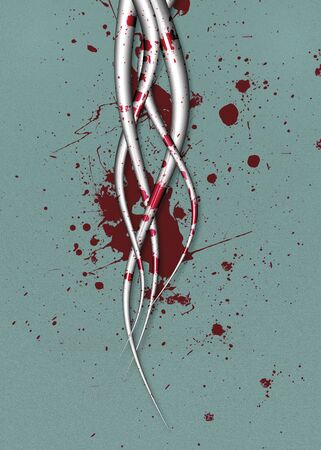 Futuristic tentacles with blood splatter Stock Photo