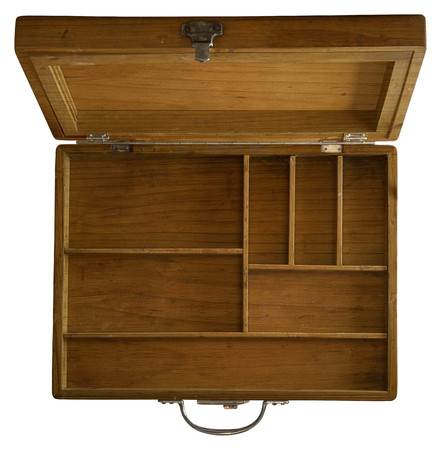 up view: Wooden Box with different Sections and compartments