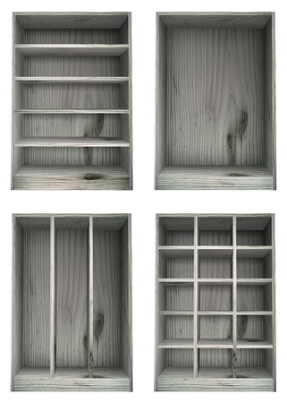 configurations: Isolated White washed wooden shelves in various configurations