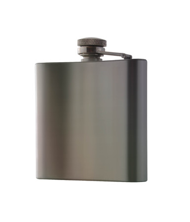 hip flask: Stainless hip flask isolated on white background
