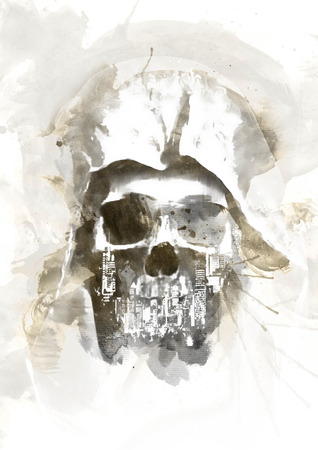 graves: Watercolor Skull for easy use in designs and layouts Stock Photo
