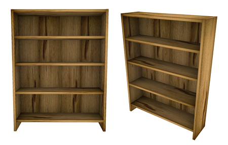 shelf: Empty blank wooden book shelf