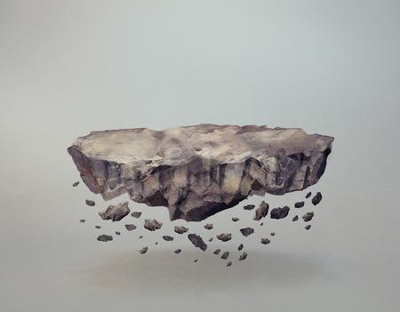 A levitating rock, with crumbling bits Standard-Bild