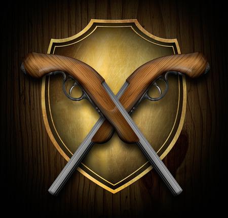 flint gun: Pistolas cruzadas en un escudo para facilitar su uso en los dise�os y los dise�os Foto de archivo
