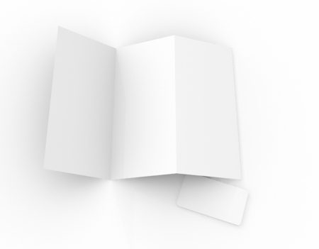 blank business card: Blank White paper trip fold and business card