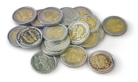 rand: Small Pile of scattered five reand coins