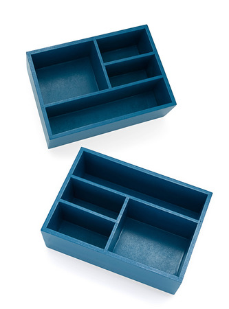 Abteile: Blue boxes with different compartments and sections Lizenzfreie Bilder