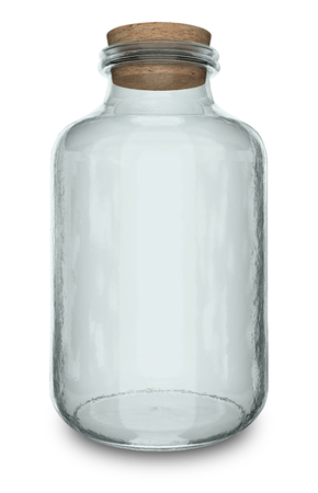 house ware: Close up view of tall glass empty container on white background Stock Photo