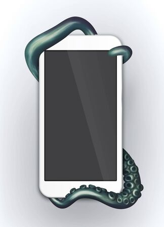 wrapped around: Tentacles wrapped around a generic electronic device Stock Photo