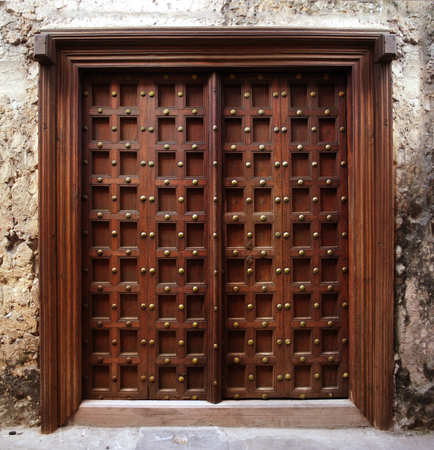 view of a wooden doorway: Zanzibar style door Stock Photo
