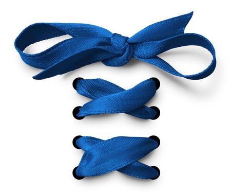 satin: Blue Shoe lace ribbon Stock Photo