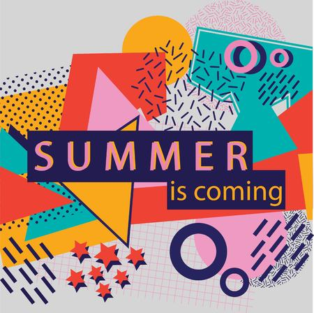 colorful abstract background with text summer is comming