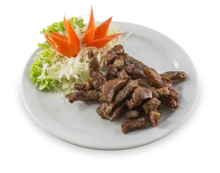 pancetta cubetti: forno struzzo carne su disco bianco