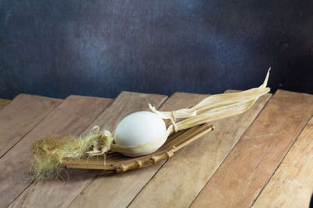 christmas savings: Easter eggs on the wooden table
