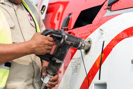helideck: The helicopter is refueling on the helideck Stock Photo