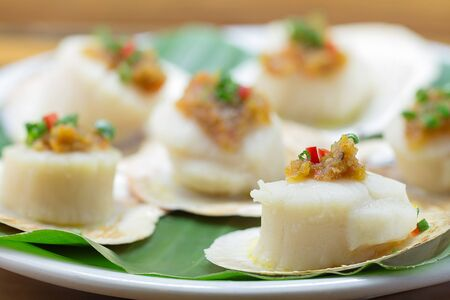 Scallops shells with thai basil pesto
