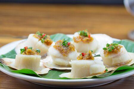 thai basil: Scallops shells with thai basil pesto