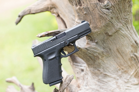 automatic: automatic hand gun on log root Stock Photo