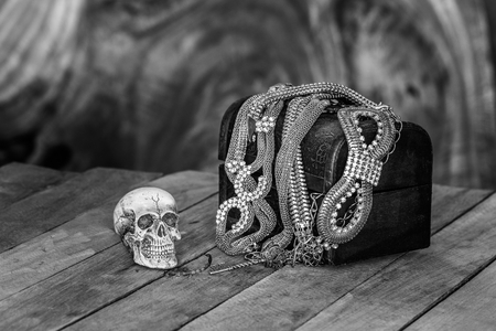 Still Life skull and small box with treasures on wooden  background Low Key photo