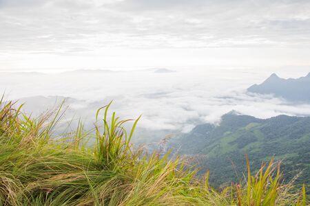 fa: Sunrise scene with the peak of mountain and cloudscape at Phu chi fa in Chiangrai,Thailand Stock Photo