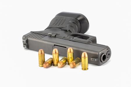 Pistol hand gun isolated on white background Stack Image Stock Photo