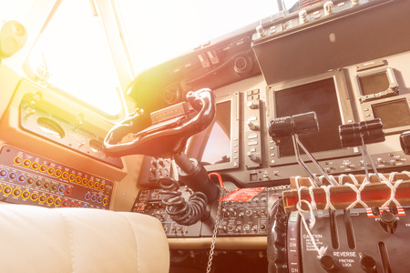 Instrument panels in Aircraft Cockpit Stock Photo