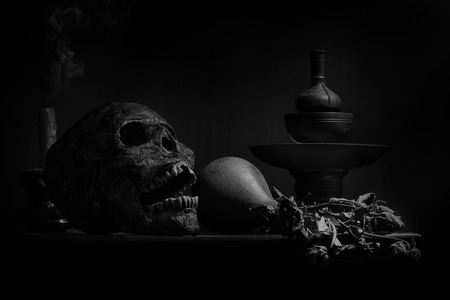 still life photography : human skulls, dry flower and candle on black table against art dark background with window light