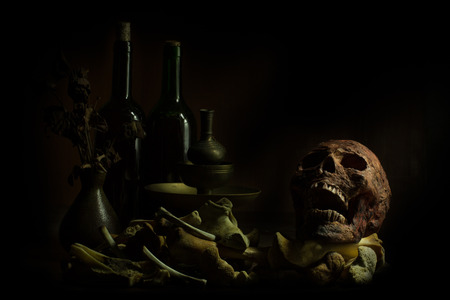 Still Life Skull , Bone ,Wine Bottles and flower on Old Wood Table Background -Halloween or Esoteric Concept 写真素材