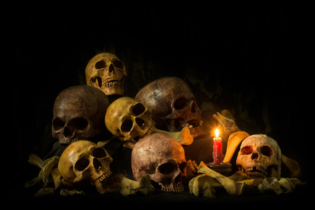 Genocides, Stacked human skulls at the Killing Fields, Sepia Tone, , Still life image