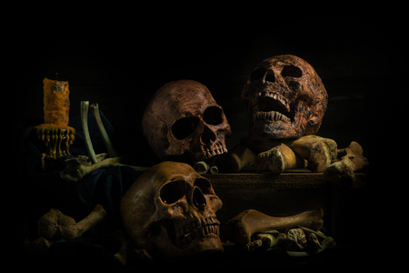 still life photography : human skulls and candle on black table against art dark background with window light 写真素材