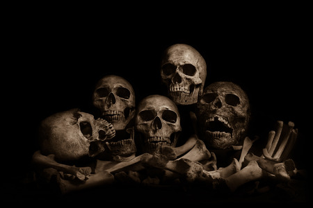 Awesome pile of skull human and bone on wooden, black cloth background. Still Life style, selective focus, 写真素材