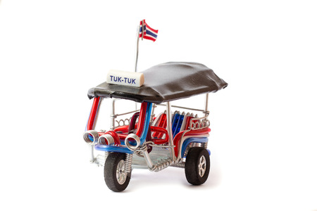 Tuk Tuk Models Three wheel taxis in Thailand, craft works made with hand objects 写真素材