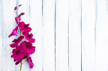 ブルーの美しい紫 (ピンク) 蘭花塗装の木製の背景トップ ビュー
