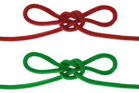 Green string knotted Isolate on white background