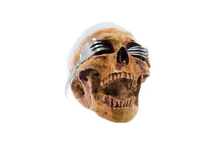 ハロウィーン頭蓋およびガラス製フォーク、白い背景の分離します。 写真素材 - 88294855