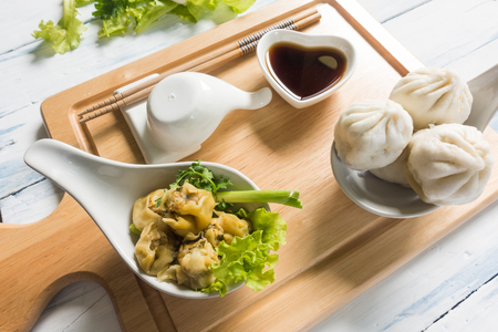 Chinese dim sum Shumai - Steamed  groumet cuisine with the dough gathered at the top. 写真素材