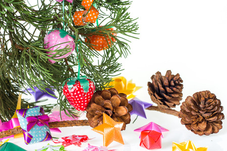 Tree, Star gift and decorations on white background 写真素材
