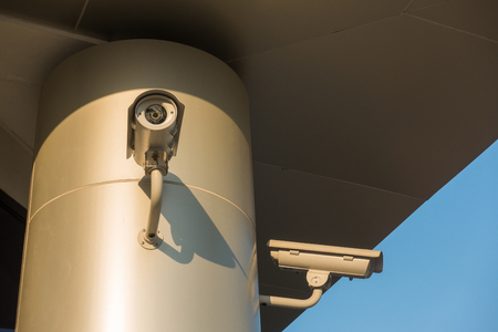 Security CCTV camera and surveillance cam system in modern office building