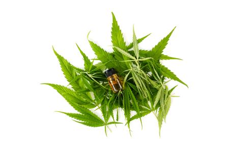 marijuana green leaf, cannabis CSB oil hemp extracts in jars, stethoscope. 写真素材