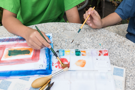 little cute boy painting with water color, lifestyle people concept 写真素材 - 102334888