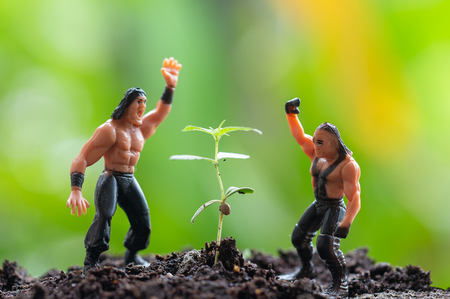 marijuana, Cannabis seedling close up on background with model strong man in health concept 写真素材