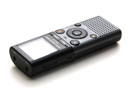 cassette recorder used to record speech for transcription at a later time
