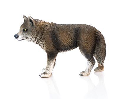 spotty: Young wolf toy. Isolated young spotty wolf toy standing on white background profile view.