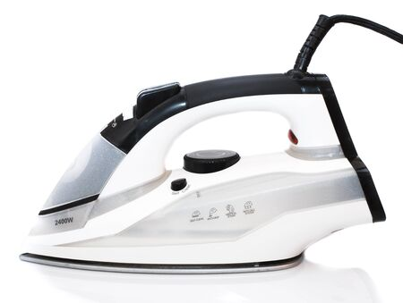 ironed: iron housework ironed electric tool clean white background ironing steam housekeeping