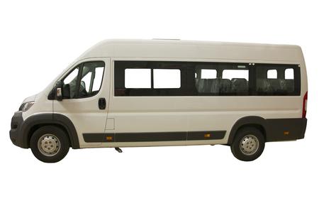 Isolation du bus de passagers blanc à un petit nombre de sièges