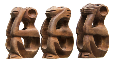 simia troglodytes: Three Monkeys: not to talk, not to see, not to hear, African, wood, white background