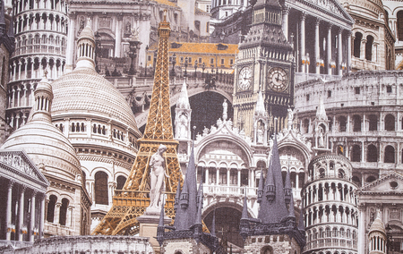 robert bruce: ancient architecture of European countries on paper texture Stock Photo